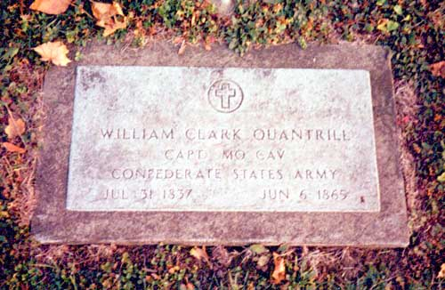 Headstone of William C. Quantrill in Dover, Ohio