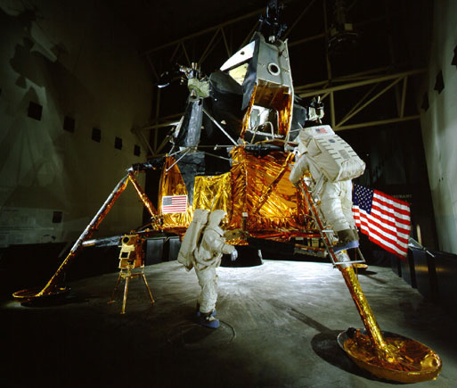 "In the Milestones of Flight gallery, a Lunar Module originally used for tests was modified to look like Apollo 11's ""Eagle."""