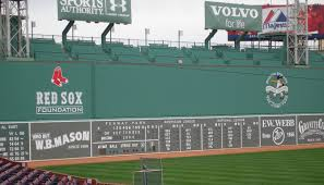 "Famous ""Big Green Monster"" - thirty-seven foot, two-inch (11.33 m) high left field wall at Fenway Park. The wall was part of the original ballpark construction of 1912. Photo by Aidan Siegel."