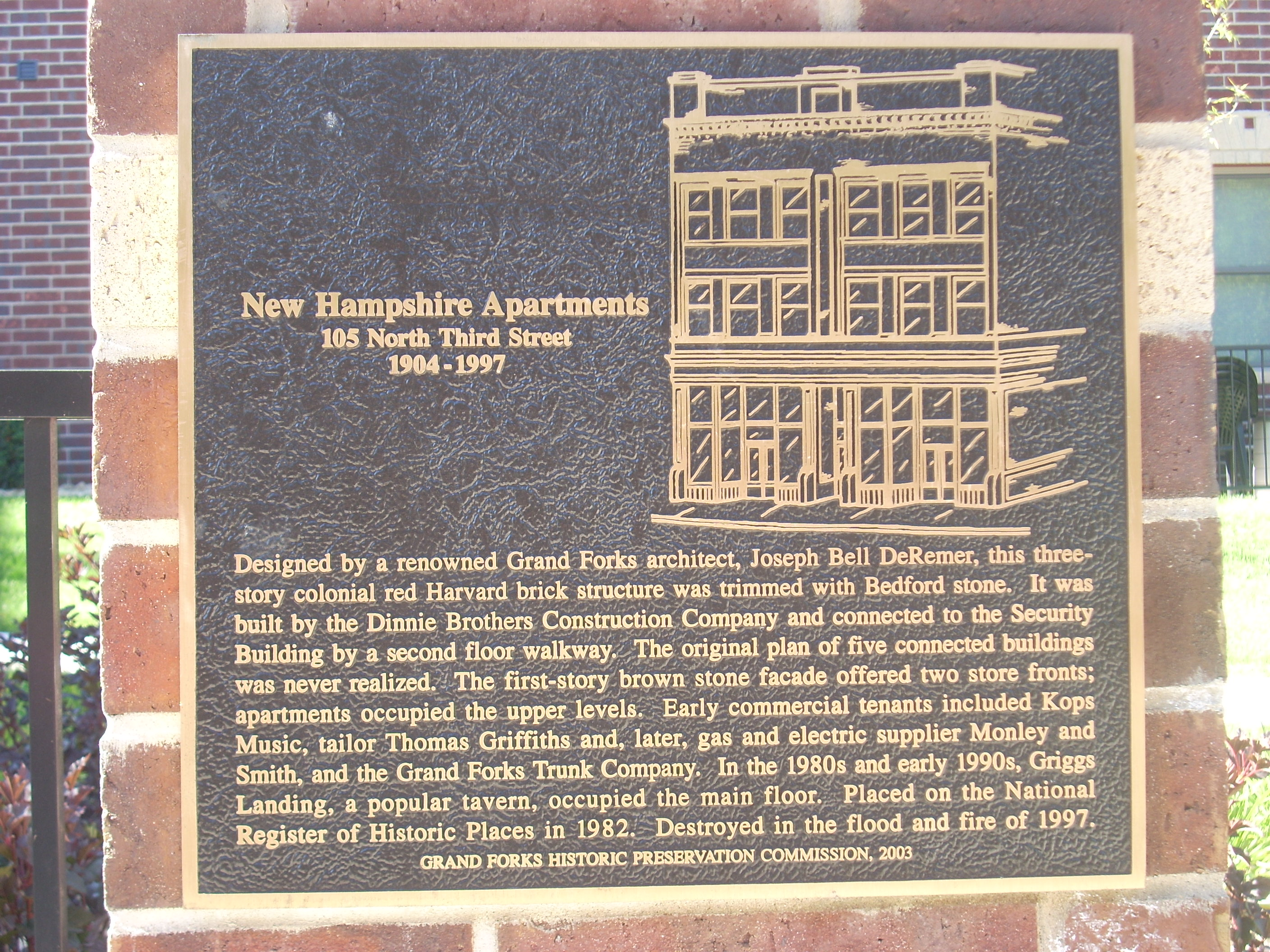 Historic Marker for the apartments. The marker sits where the apartments once stood.
