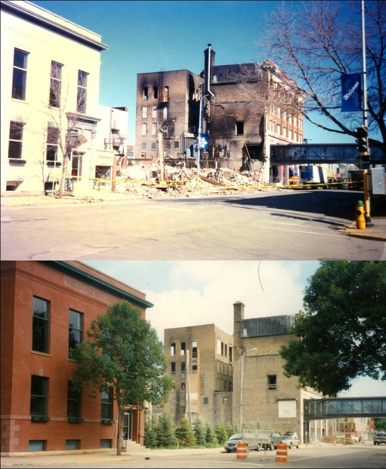 A before and after view of a building that caught fire in downtown Grand Forks during the 1997 Red River flood.