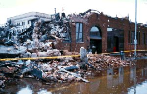 What was left of the original Herald building following the 1997 Red River flood and fire