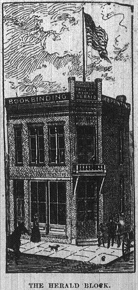 1886 sketch of the the Herald Block building