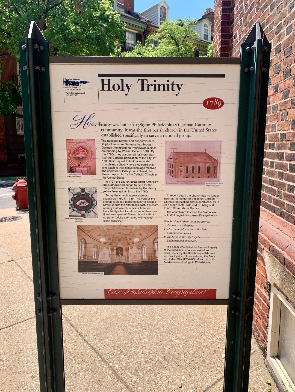 Historic information at Holy Trinity church, photo taken 2020