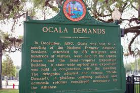 "This placard, describing the meeting held in which the ""Ocala Demands"" were made, is situated outside of the Marion Block House as a historical marker."