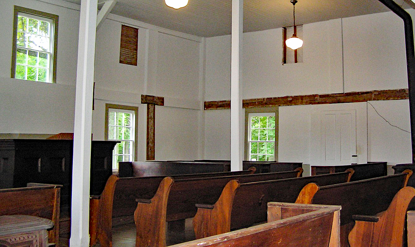 Frying Pan Meetinghouse Interior, courtesy of Fairfax County Park Authority (reproduced under Fair Use).