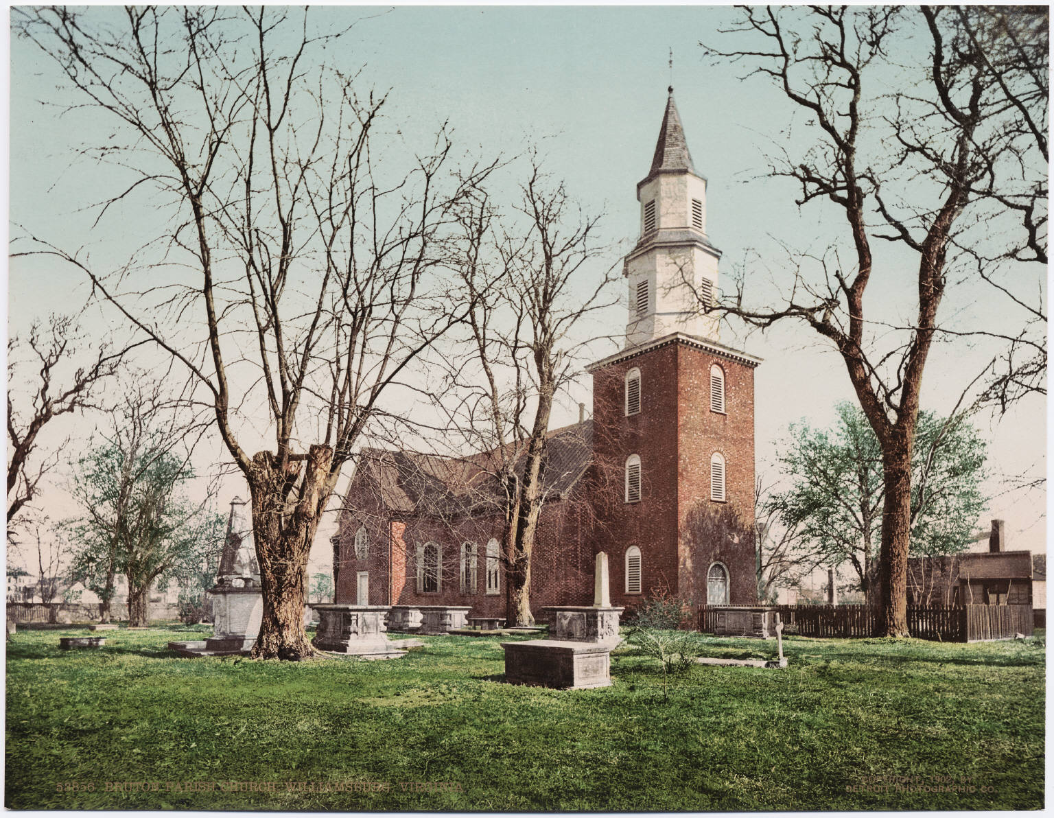 View of Bruton Parish Church, ca. 1902. Image by Unknown - Beinecke Rare Book & Manuscript Library, Yale University, Public Domain