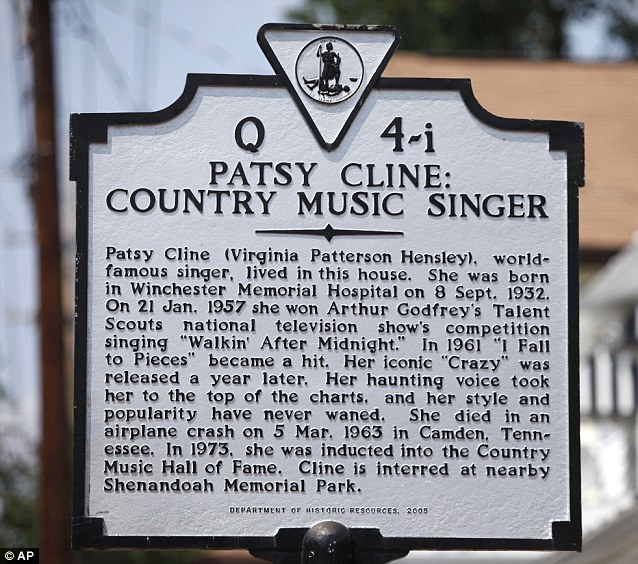 Landmark dedicated to Patsy Cline.http://www.dailymail.co.uk/news/article-2020149/Patsy-Cline-fans-Crazy-house-Fifties-singing-star-lived-gets-100-000-revamp.html