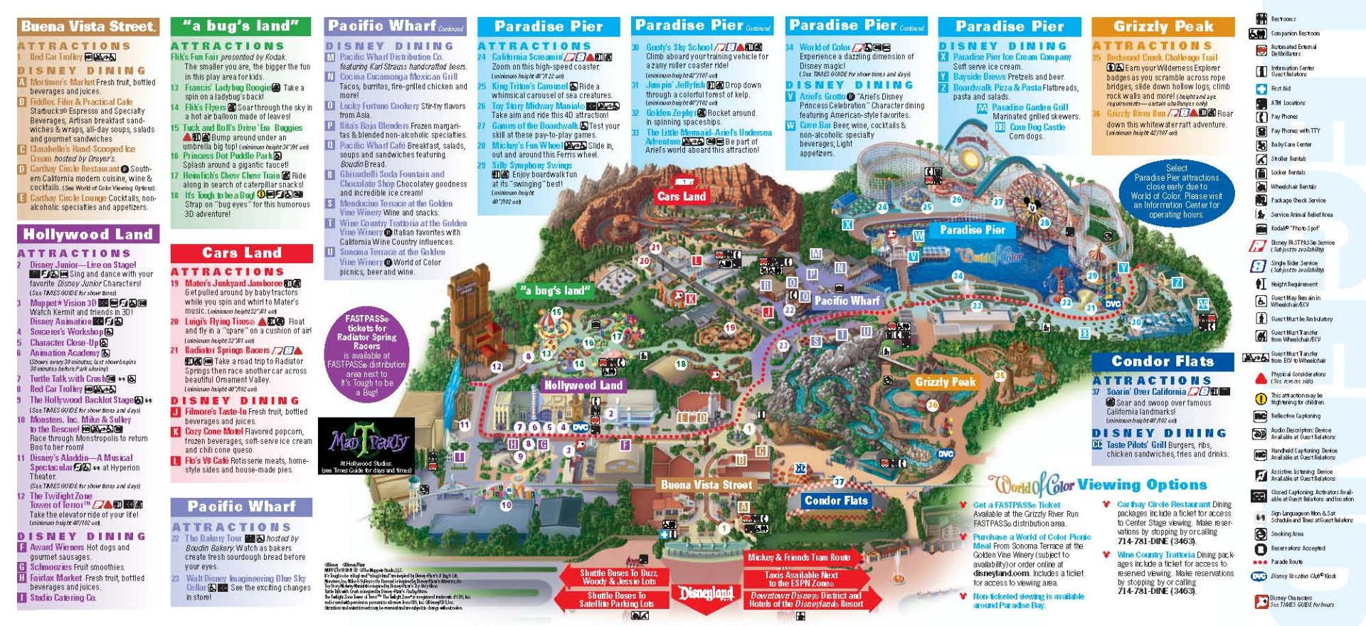 Here is a picture of the park map, which shows each specific attraction, landmark, and also includes important places you may need to visit when visiting the park. Picture found from https://thrillz.co/themeparks/item/disney-california-adventure