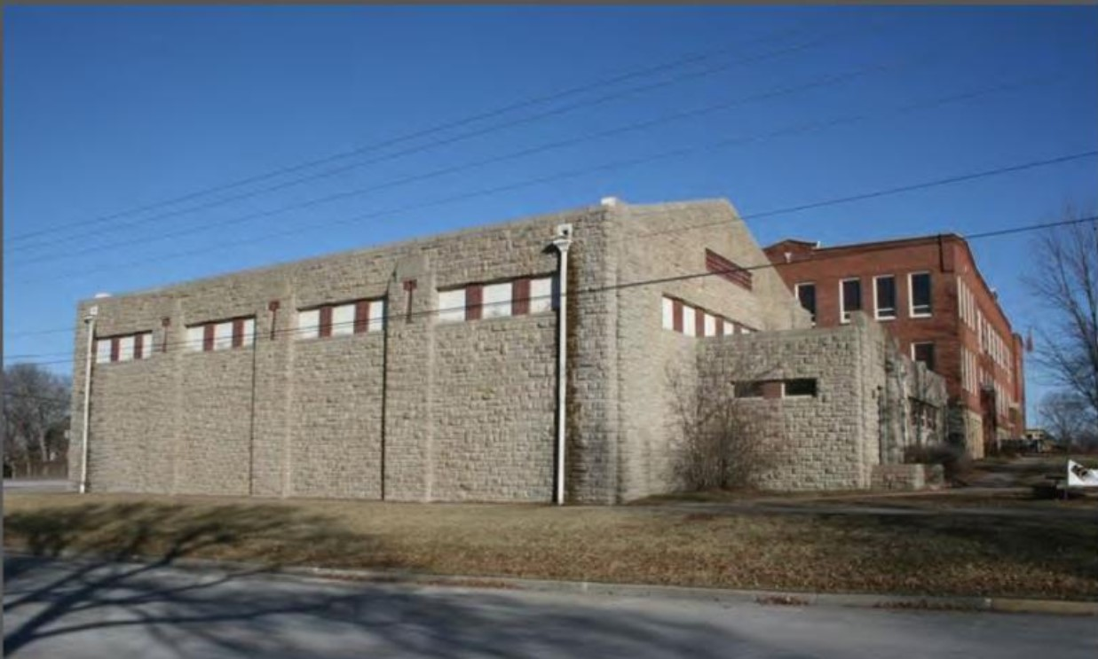 2013 photograph of west elevation of Old Baldwin City Gymnasium by Stan Hernly (KSHS)