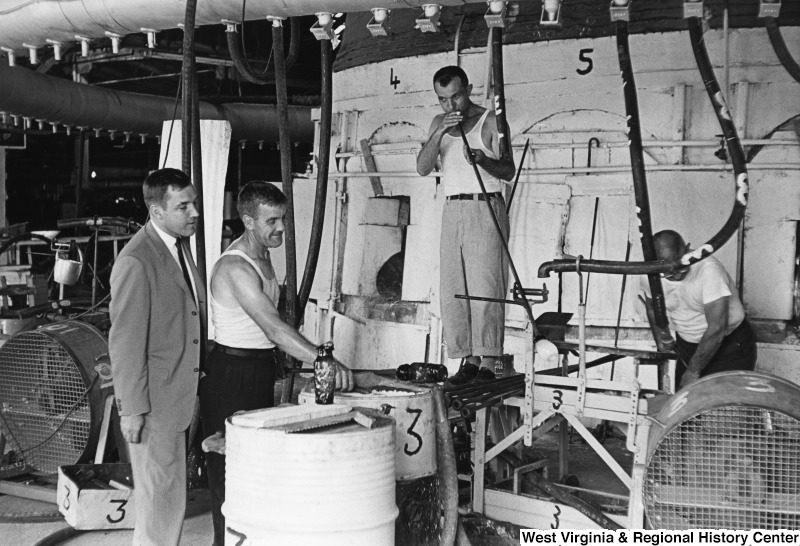 Glass Blowing at Seneca in the 1960s. Courtesy of the West Virginia and Regional History Center, WVU Libraries.