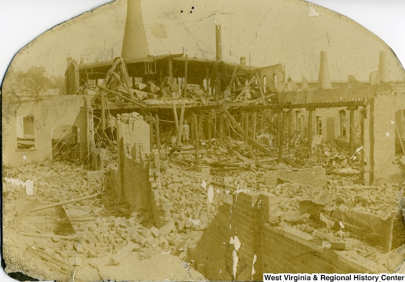 Seneca Glass Factory fire in 1902. Courtesy of the West Virginia and Regional History Center, WVU Libraries.