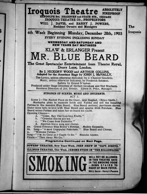 """A playbill from the performance that day, singed by the fire. Notice that the theater is advertized as """"absolutely fireproof"""" in the upper right corner."""