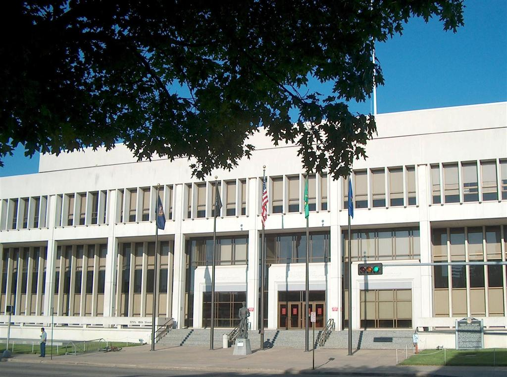 The City-County building constructed in 1969. The historical marker is on the bottom right