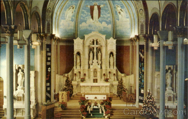 Undated, retouched color photo of inside the church during Christmas