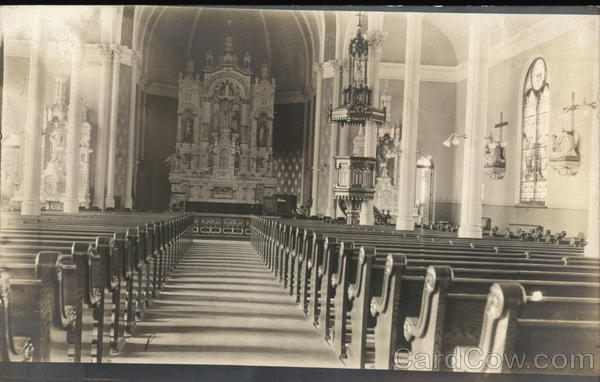 Undated black and white photo of the inside