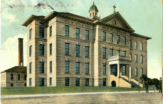 Undated colored postcard of St. Michael's Hospital