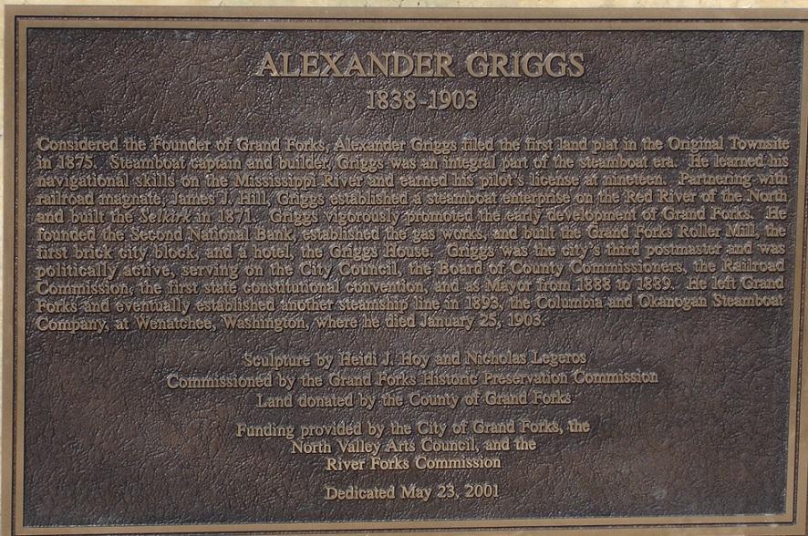 Captain Alexander Griggs Statue plaque