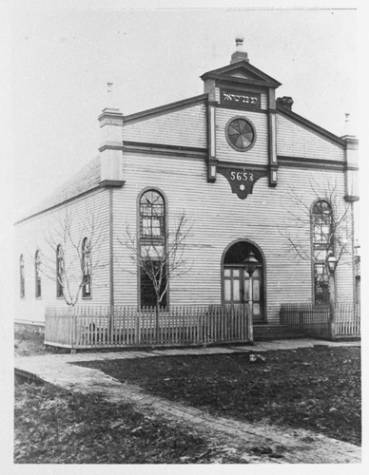 Original synagogue building in 1891. Courtesy of the State Historical Society of North Dakota