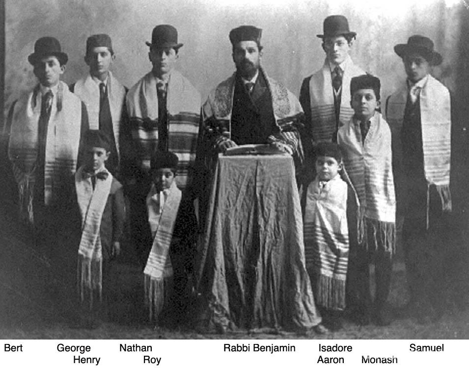 Rabbi Benjamin Papermaster with rabbinical students at the synagogue
