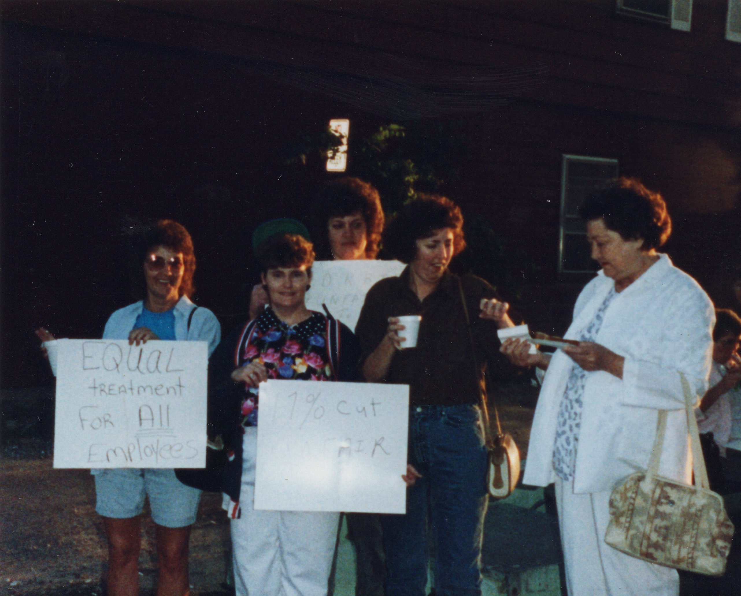 Corbin Ltd. Machine Operators Mae Adkins, Betty Simpkins, Nancy Lewis, Linda Collins, Myrtle Watson on strike at Vernon St. Factory, Huntington, WV, 1991