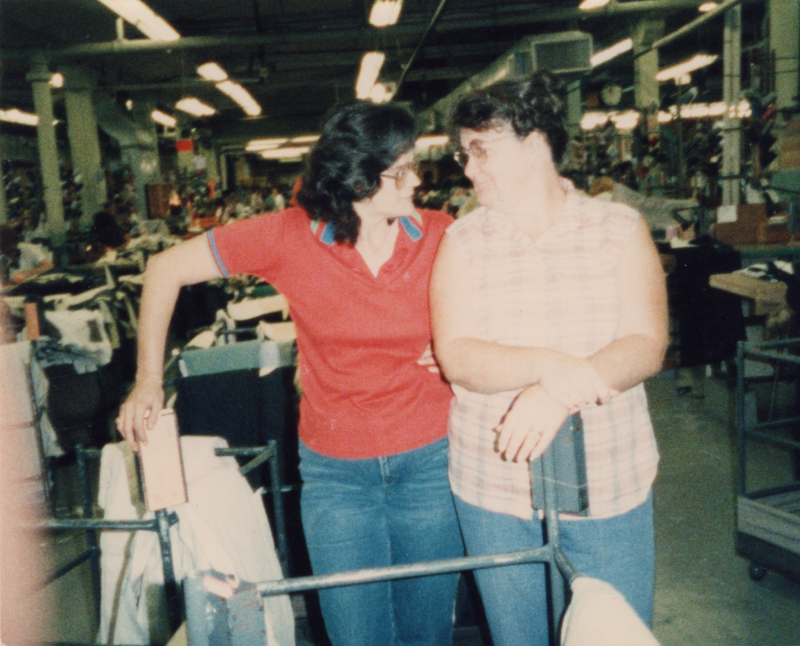 Corbin Ltd. Machine Operators Brenda Seary and Phyllis Nance on break, Huntington, WV