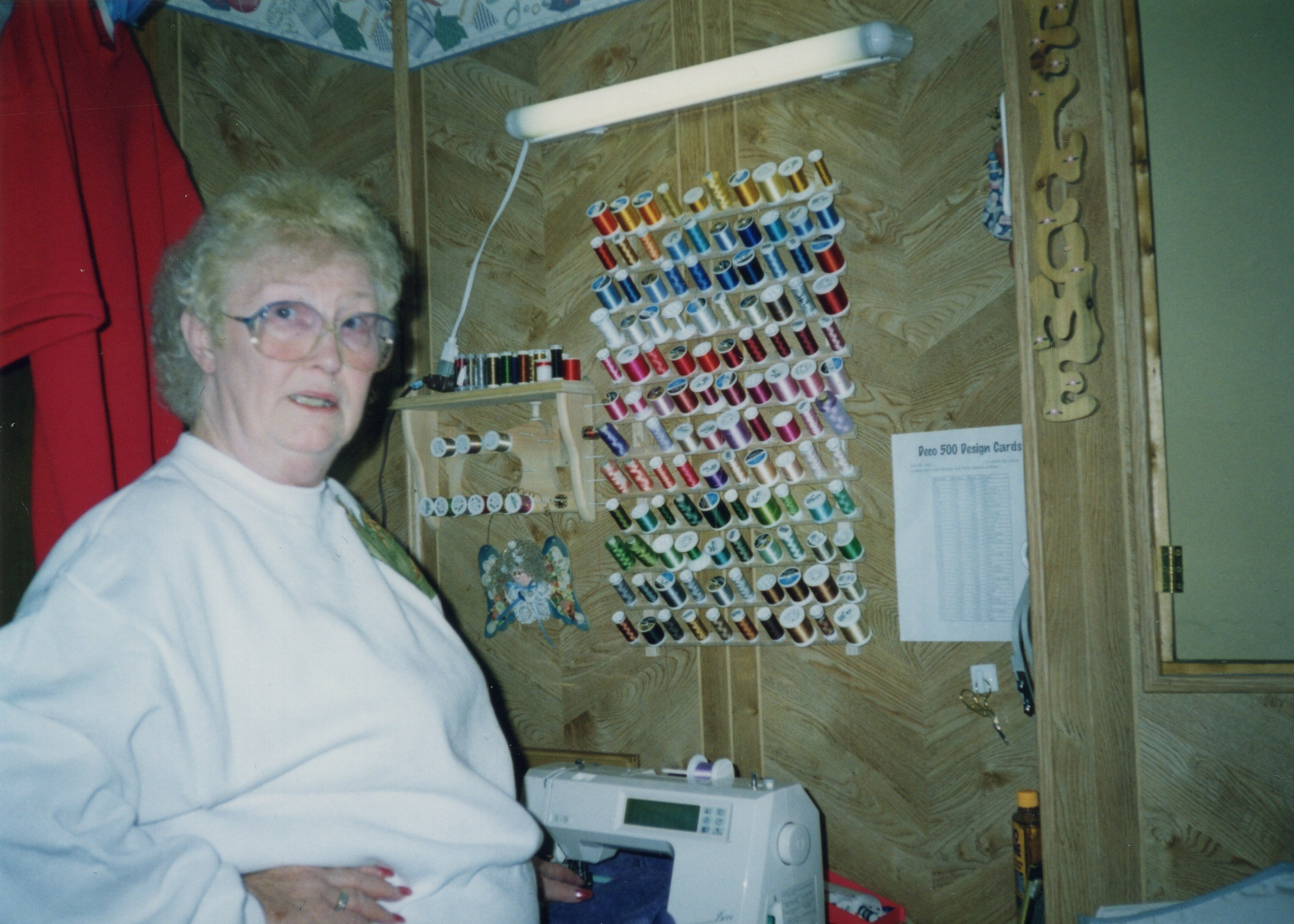 Corbin Ltd. Machine Operator Margaret Jeffers (pictured at Sandra Sheffield's home sewing station), Lavalette, WV