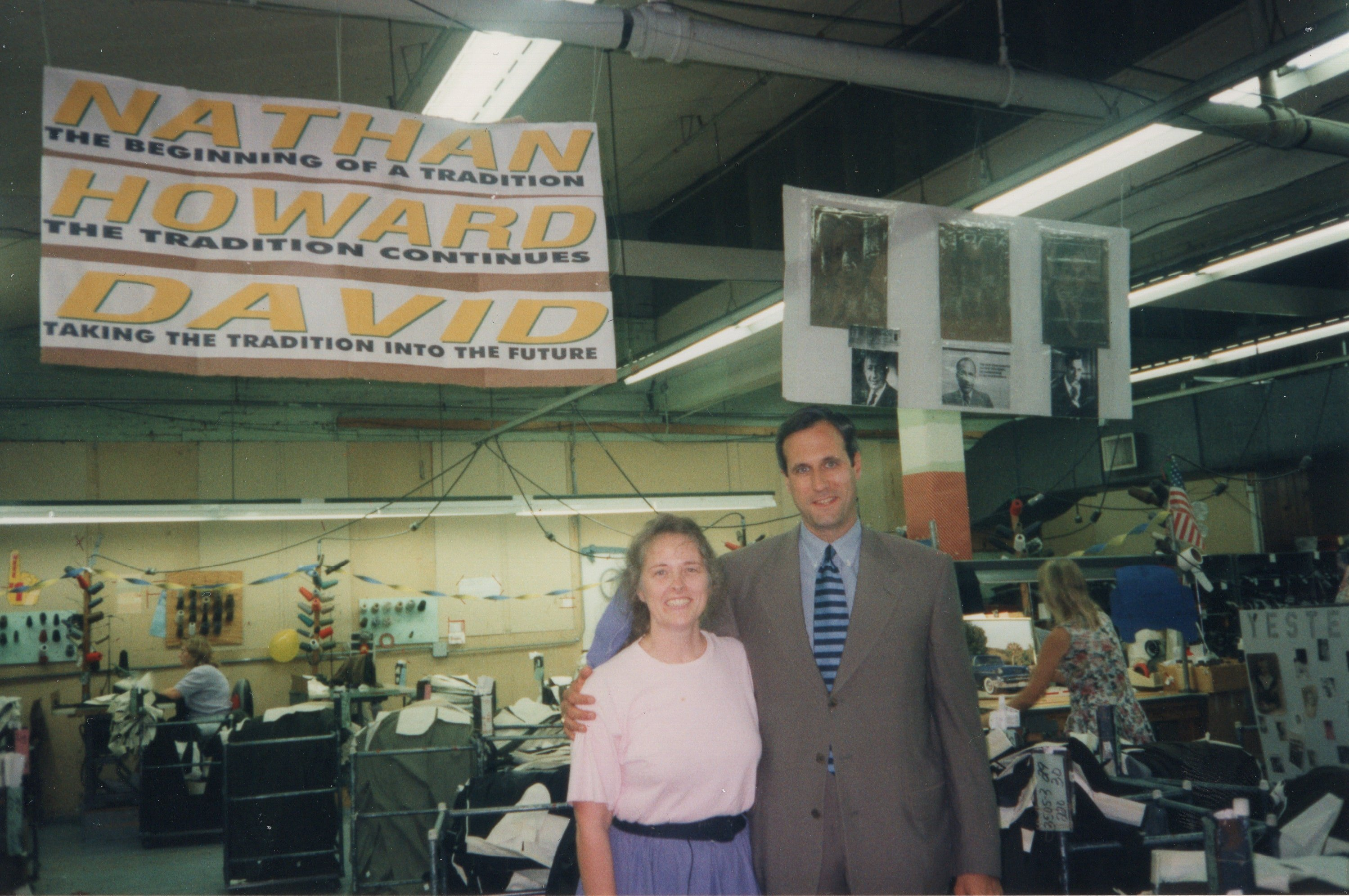 Corbin Ltd. Machine Operator Merna Saddler and President David Corbin, Huntington, WV, 1997