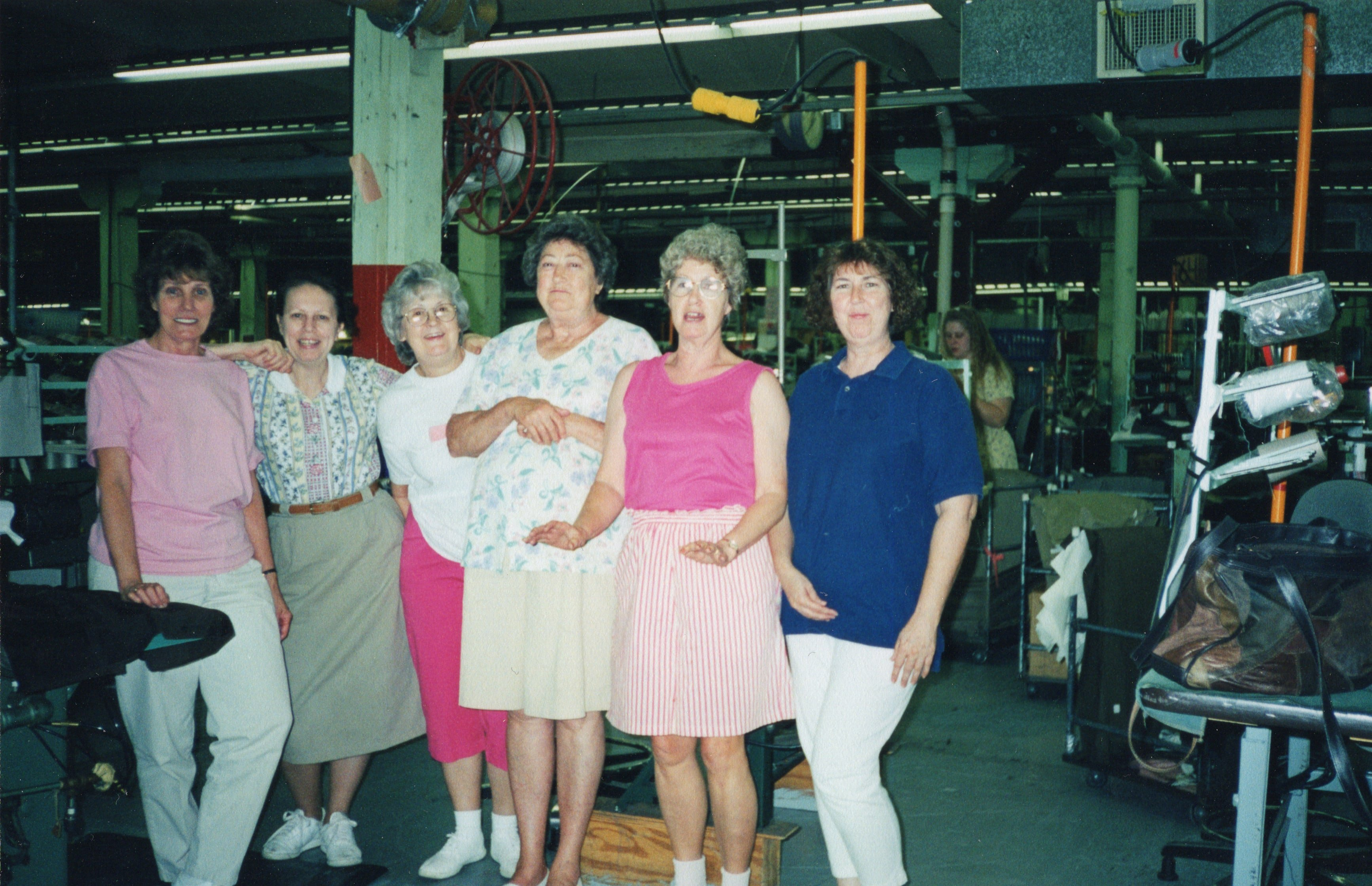 Corbin Ltd. Machine Operators Lorella Cooper, Unidentified, Unidentified, Myrtle Watson, Unidentified, and Linda Collins, Huntington, WV