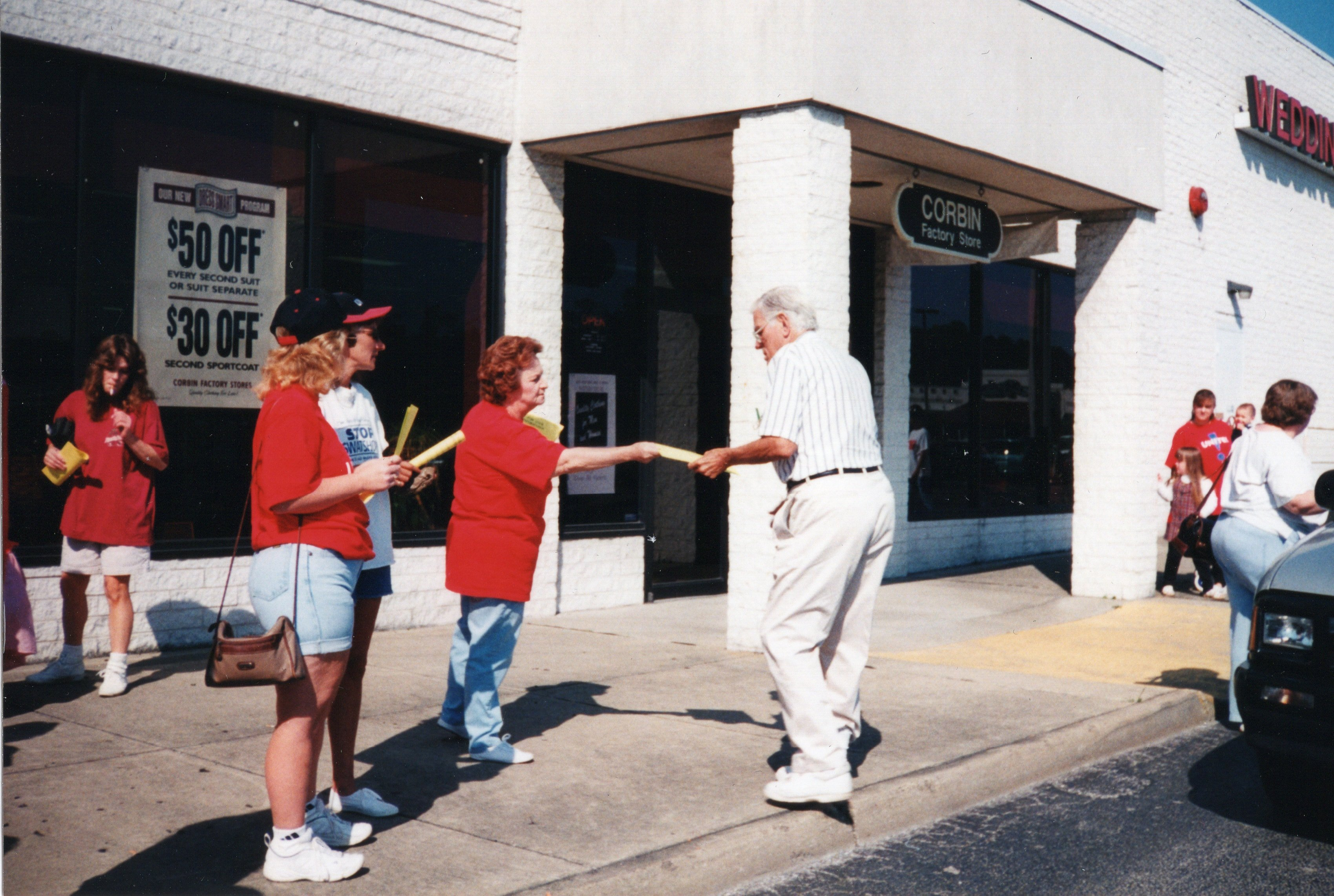 Frances Jackson, Local UNITE Union President, UNITE Union Protest against NAFTA and loss of jobs at Corbin Ltd. Factory Store at Huntington Mall, Barboursville, WV, 1996
