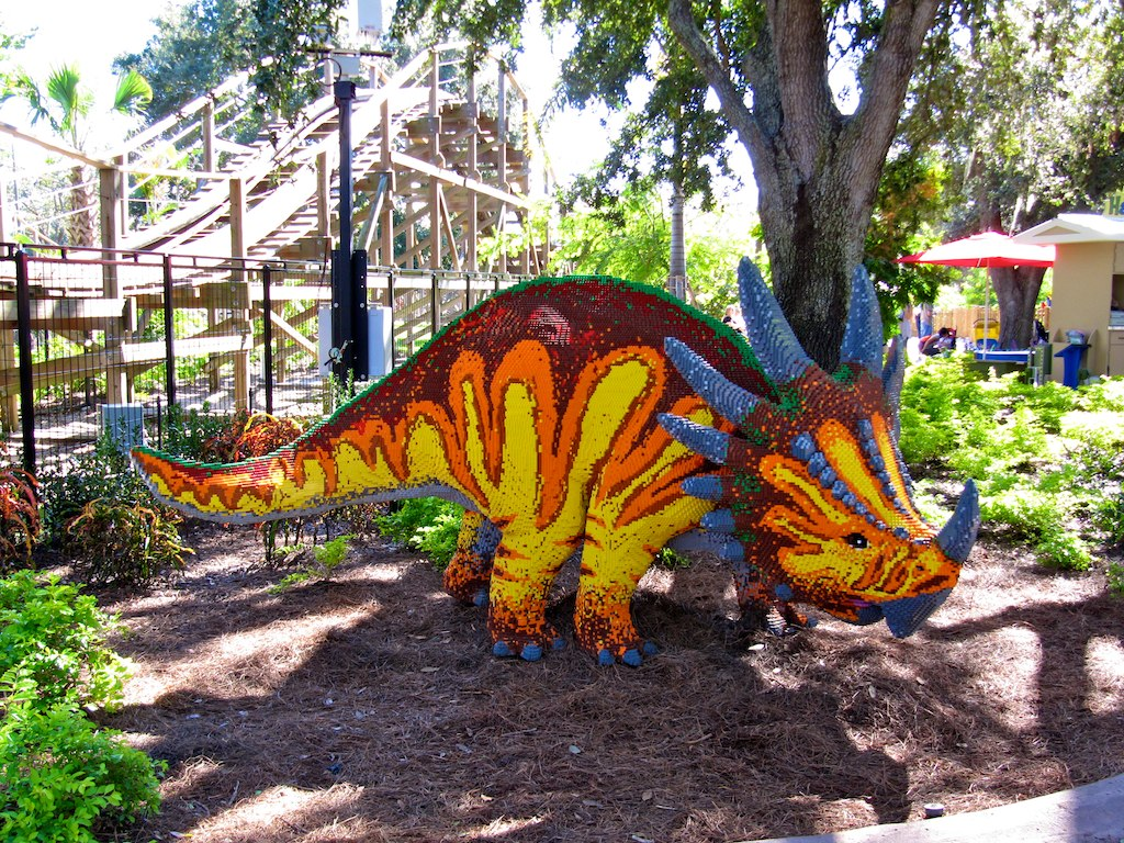 Triceratops lego architecture right outside Coastersaurus. Image is public domain.