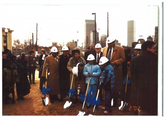 After three years of planing and raising funds, supporters break ground for the new library in 2002.