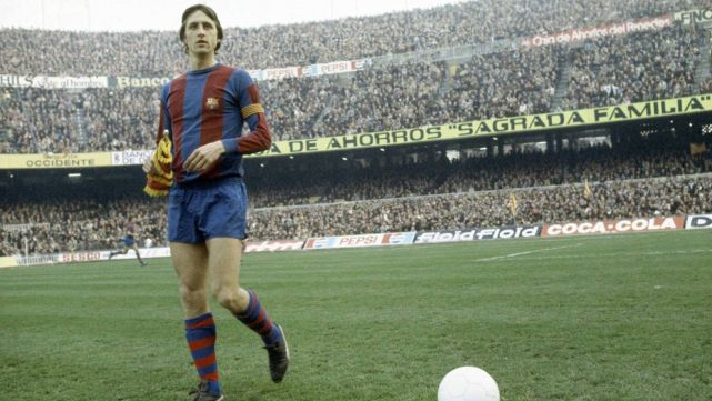 Johan Cruyff at the Barcelona stadium