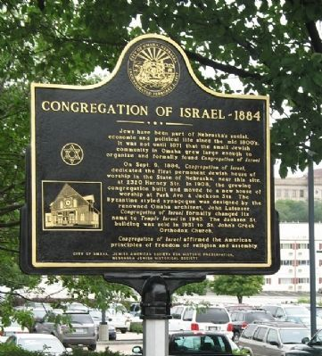 This historical marker was dedicated by the Jewish American Society for Historic Preservation and the Nebraska Jewish Historical Society with the support of the city of Omaha Photo by: Jerry Klinger