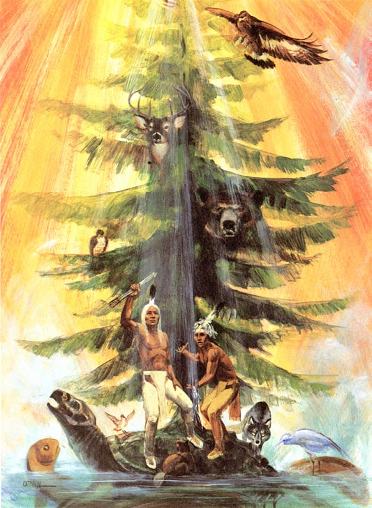 "An artistic rendering of ""The Tree of the Great Peace"" (1985) by Chief Oren Lyons of the Onondaga Nation."