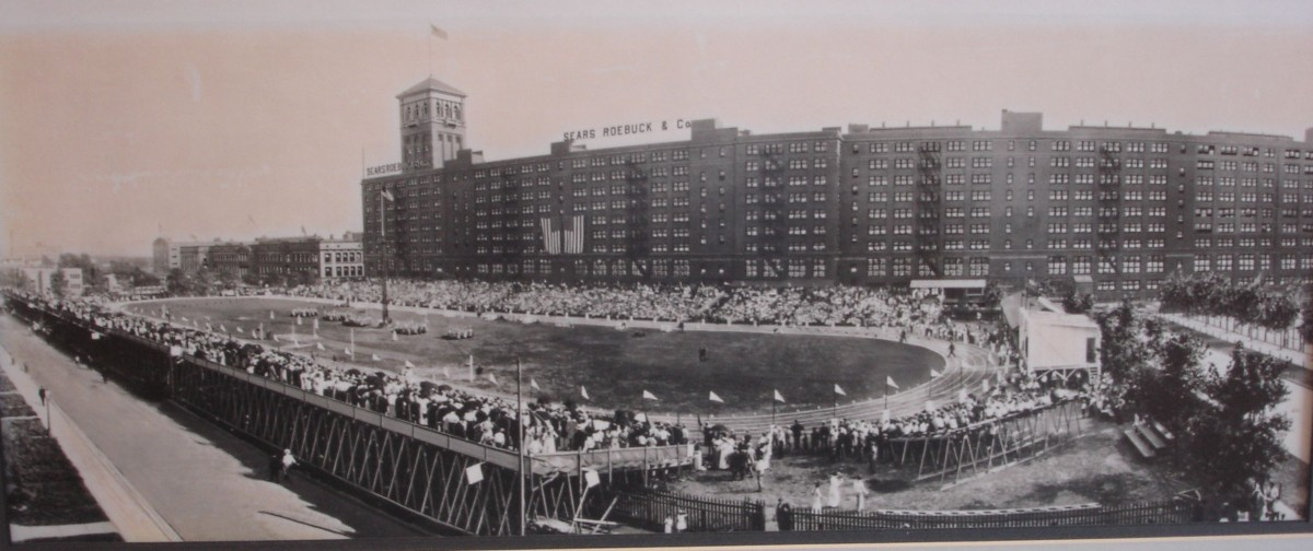 By 1913, Sears had build an athletic complex. This was a track meet held at the Sears & Roebuck complex's track field. Source: HomanSquare.org