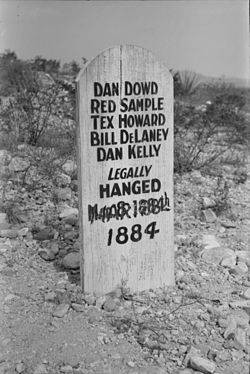 Marker of the 5 men hanged for their involvement in the Bisbee Massacre. This headstone can be found in Tombstone's Boot Hill Cemetery