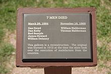 A plaque at the Tombstone Courthouse State Historic Park listing the names of the men hanged in Tombstone.