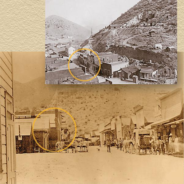 Late 1800s-early 1900s photos of the Letson Loft Bloack as it originally appeared. The building circled is of the old Goldwater-Castaneda Mercantile Store, that is now the Letson Loft Hotel