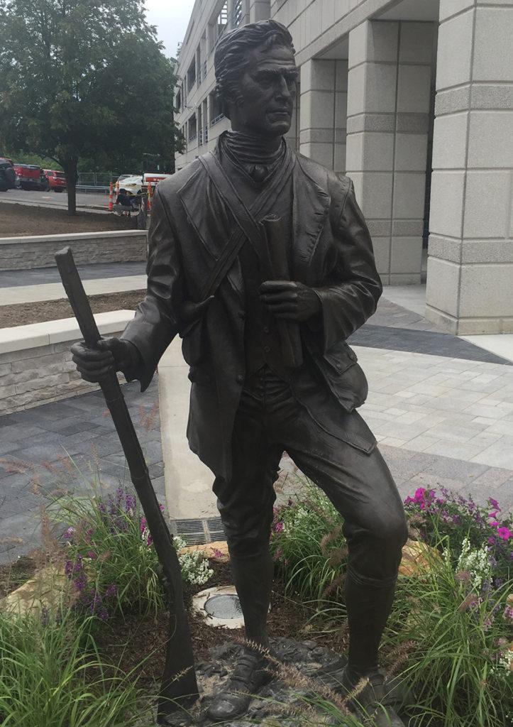 Statue on unveiling day. http://vandaliabronze.com/the-zackquill-morgan-statue/