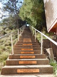 Stairs with plaques of those who have helped preserve them.