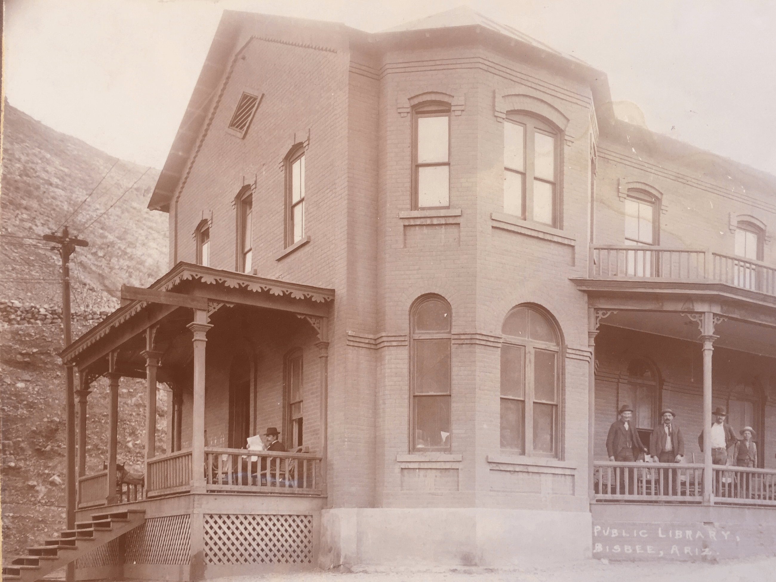 The first library of Bisbee circa 1885. It was across the street where the current one stands. This one burn done in the 1888 fire. Photo courtesty of the Bisbee Mining and Historical Museum