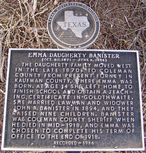Emma Banister's Marker at her grave site in Santa Anna Cemetery