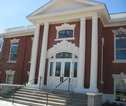 The WCTU building was constructed in 1906 and is now home to the county library.