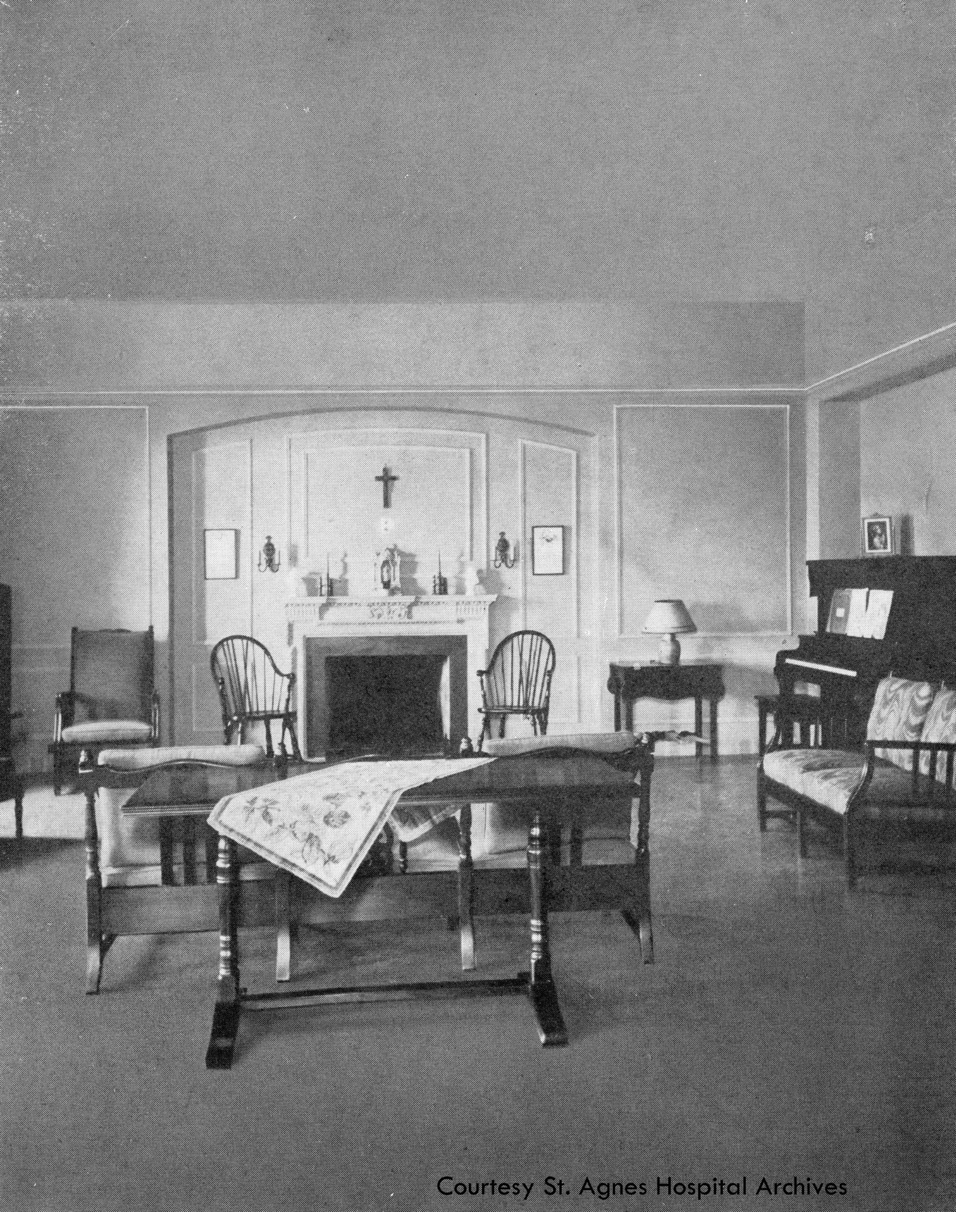 Student lounge at St. Agnes School of Nursing, c. 1931.