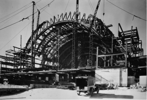 Early photo of the construction of the terminal
