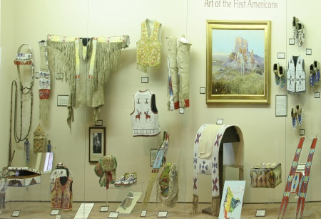 Some of the Native American art and clothing on display