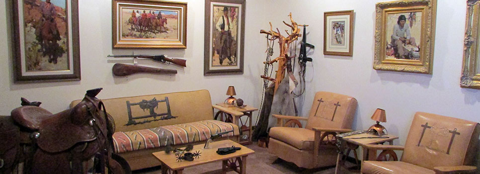 Various Western art and furniture on display
