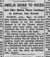 September 13, 1928 article from the Oregonian newspaper about Earhart's Arizona landings.