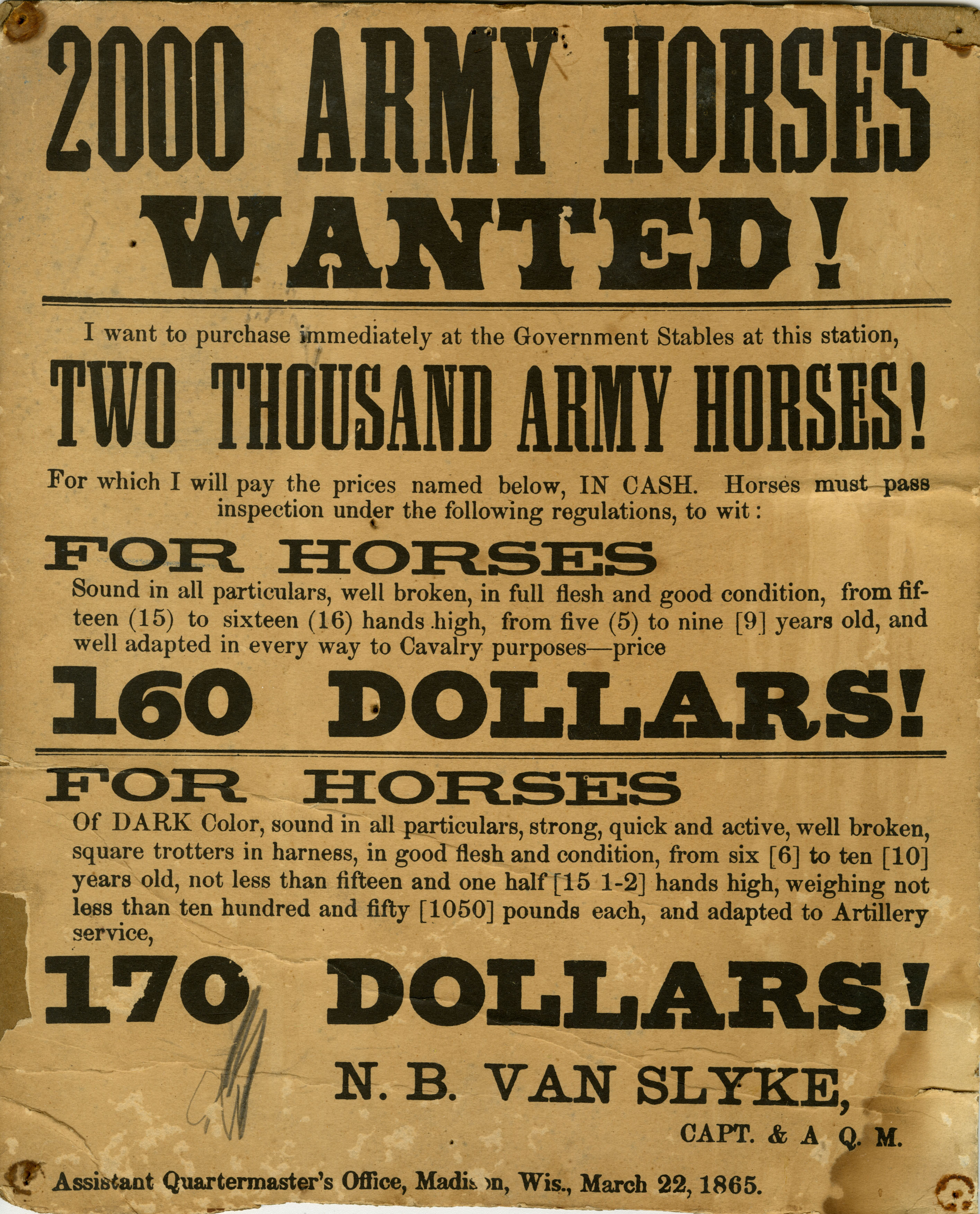 Civil War broadside issued in Madison, Wisconsin, requesting the need for horses for cavalry and artillery units. The broadside was issued on March 22, 1862 by Napoleon B. Van Slyke, who served as a captain and assistant quartermaster with the assistant quartermaster's office.